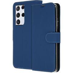 Accezz Étui de téléphone Wallet Galaxy S21 Ultra - Bleu foncé
