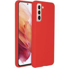 Accezz Coque Liquid Silicone Samsung Galaxy S21 - Rouge
