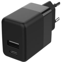 Accezz USB-C & USB-A Wall Charger + Power Delivery - 20W - Noir