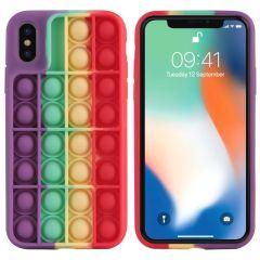 iMoshion Pop It Fidget Toy - Coque Pop It iPhone Xs / X - Rainbow
