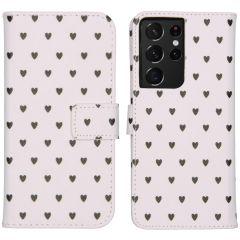 iMoshion Coque silicone design Galaxy S21 Ultra -Hearts Allover White