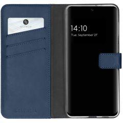 Selencia Étui de téléphone en cuir véritable A32 (5G) - Bleu foncé