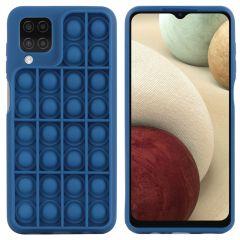 iMoshion Pop It Fidget Toy - Coque Pop It Galaxy A12 - Bleu foncé
