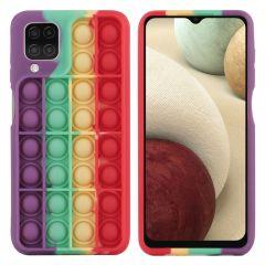 iMoshion Pop It Fidget Toy - Coque Pop It Galaxy A12 - Rainbow