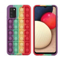 iMoshion Pop It Fidget Toy - Coque Pop It Galaxy A02s - Rainbow
