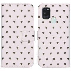 iMoshion Coque silicone design Galaxy A21s - Hearts Allover White
