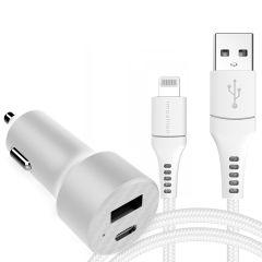 iMoshion Chargeur Voiture 20W + Câble Lightning vers USB - 1.5 mètre - Blanc